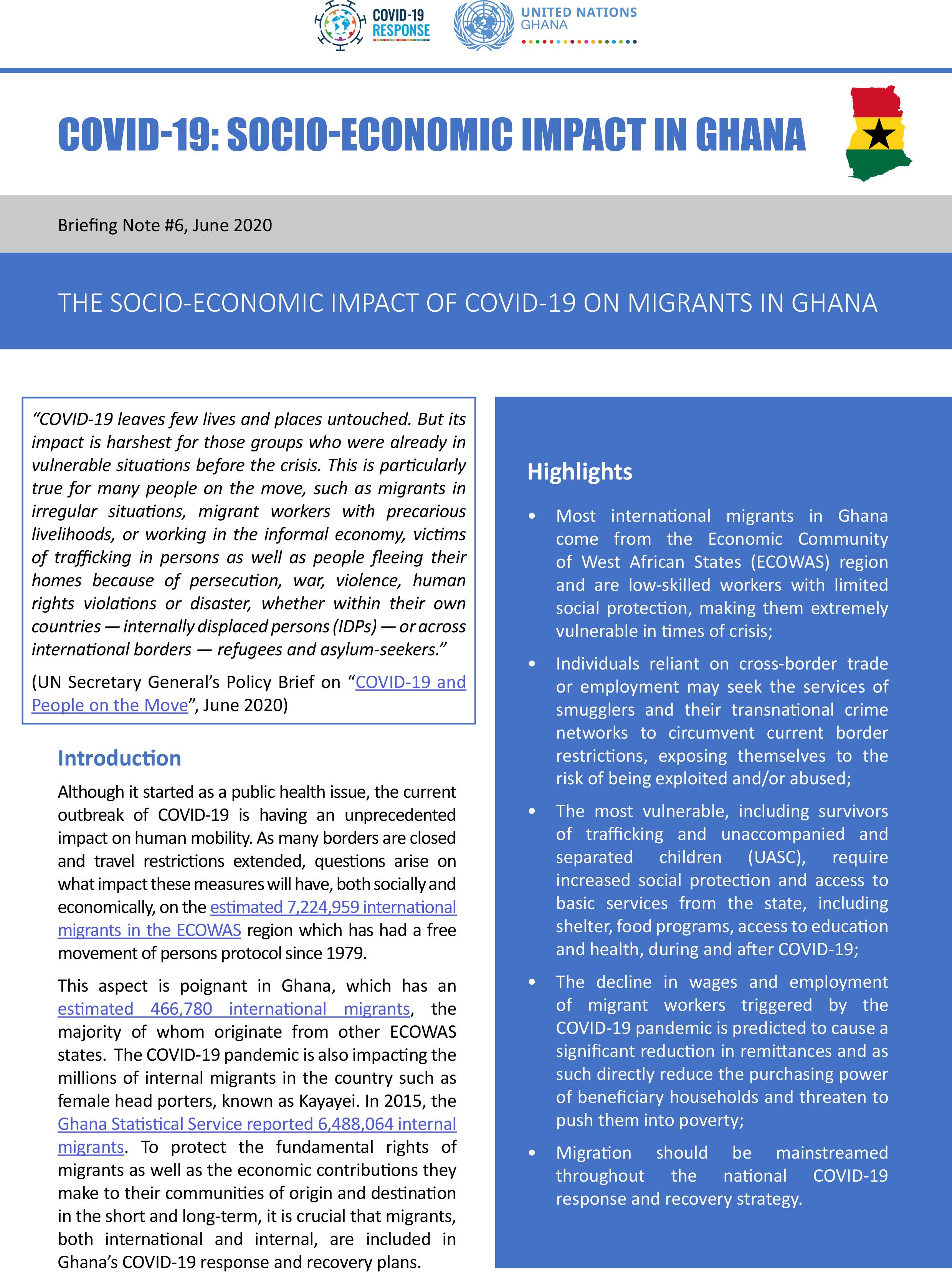 The Socio-Economic Impact of COVID-19 on Migrants in Ghana