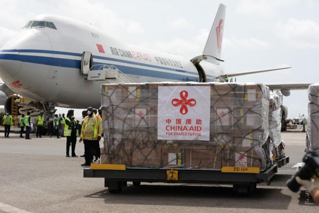 One of the pallets containing donated medical supplies